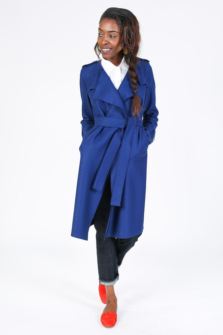 Harris Wharf London Long Trench Coat in Sea Blue