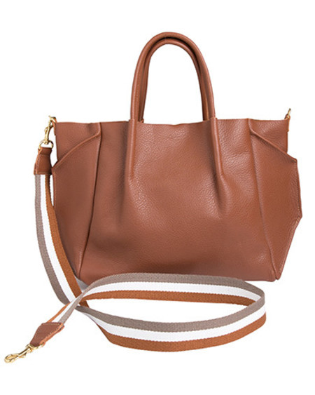 Oliveve zoe tote in cognac pebble cow leather striped cotton cross body strap