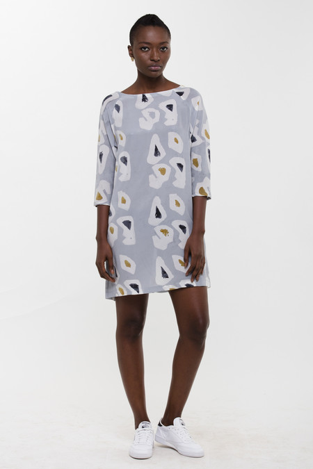 Osei-Duro Linter Dress in Grey Platelets