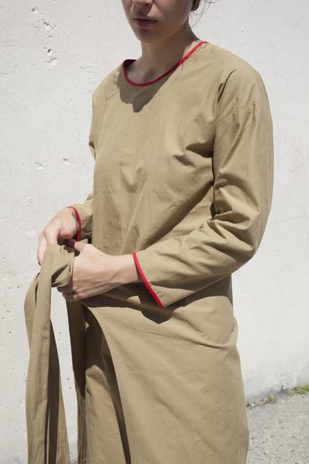Caron Callahan Paley Dress in Khaki Slub Cotton