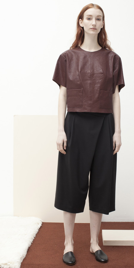 SCHAI Cropped Leather T-Shirt
