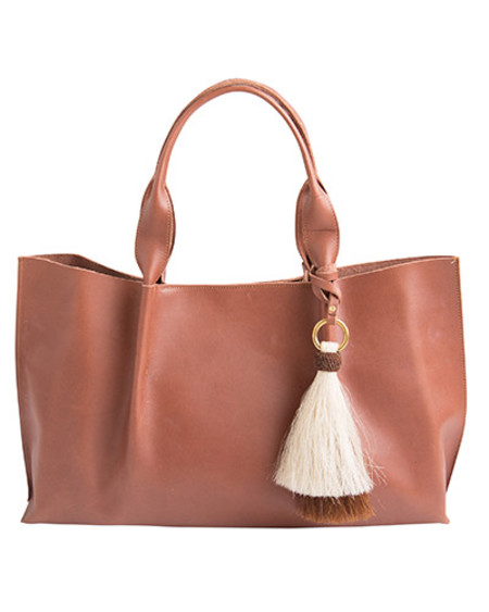 Oliveve isabel tote in chestnut saddle leather with double horsehair tassel - for preorder