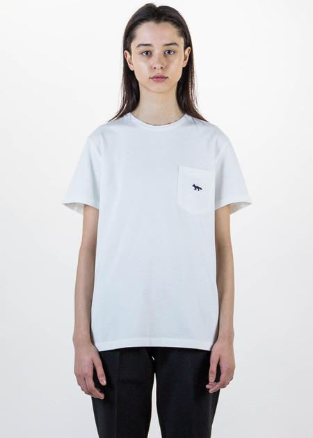Maison Kitsune White Fox Embroidered T-Shirt