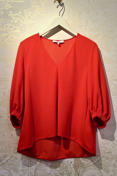 Tibi Crepe Trapeze V-Neck Top