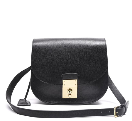 Lotuff Leather Black Arc Shoulder Bag