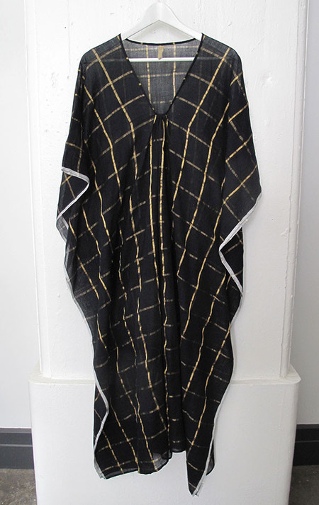 Two Black and gold metallic grid caftan