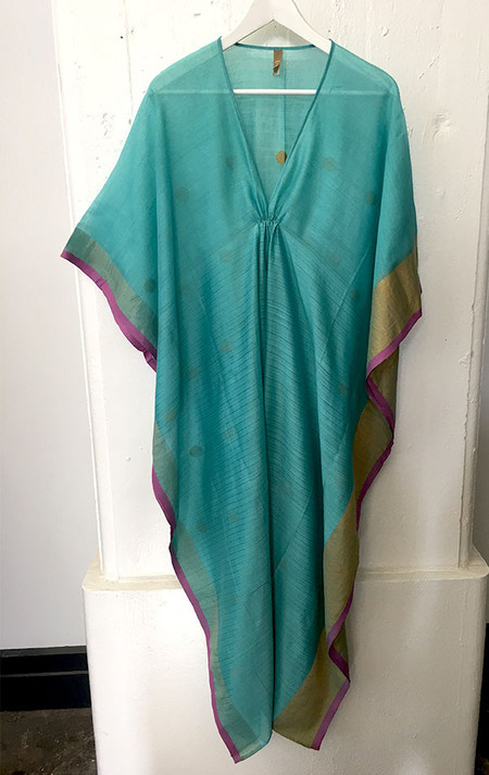 Two Silk and cotton turquoise green caftan