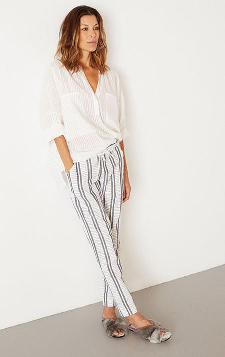 Two New York Khadi stripe Two Pocket Shirt-white