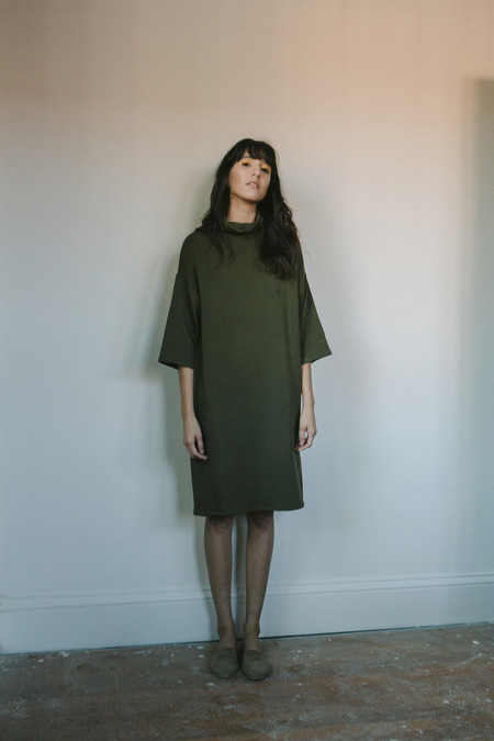 Corinne Collection Olive Fleece Dress