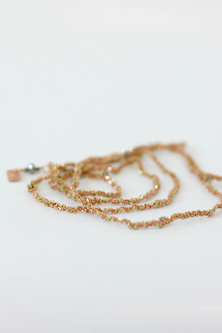 Marie Laure Chamorel Lariats in silk and gold chain