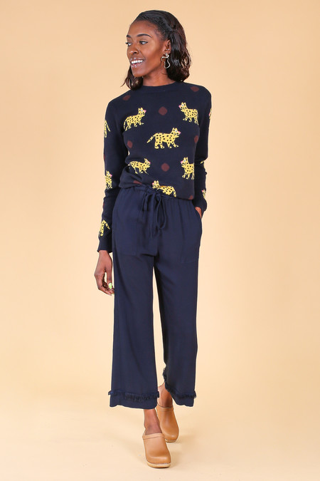 Chinti and Parker Leopard Sweater in Navy