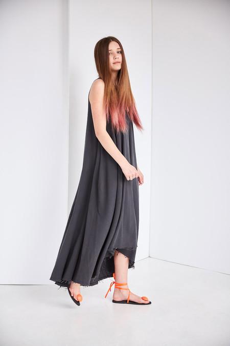 Black Crane Floral Dress - Dark Grey