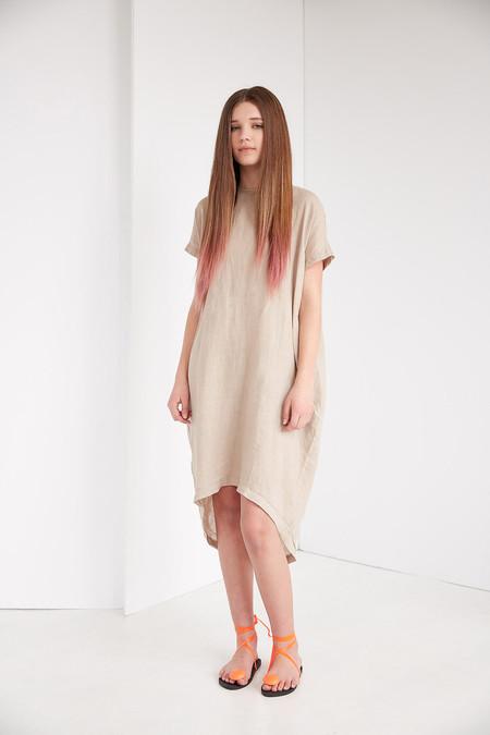 Black Crane Pleated Cocoon Dress - Oatmeal
