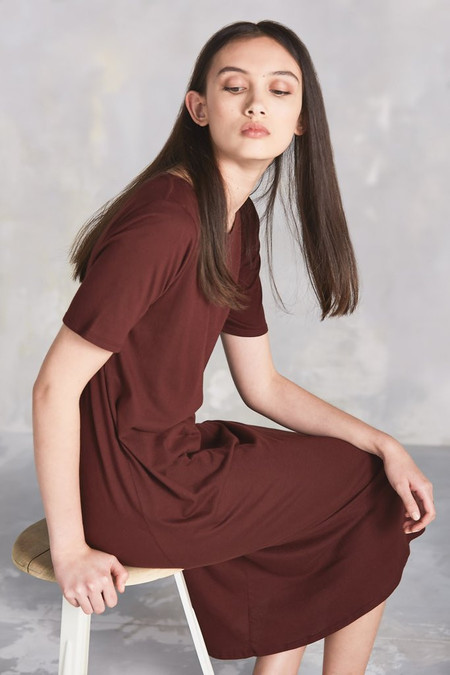 Kowtow Building Block Tee Shirt Dress in Burgundy