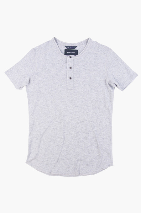 Wings + Horns 1x1 Slub Short-Sleeve Henley Heather Grey