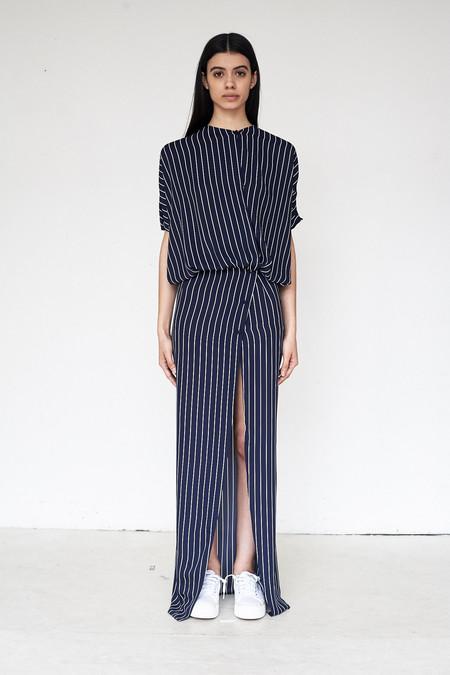 Assembly New York Poly Stripe Twist Split Dress