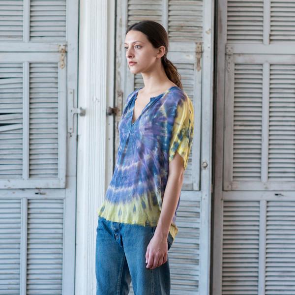 Raquel Allegra Tie Dye Short Sleeve Shirred Blouse