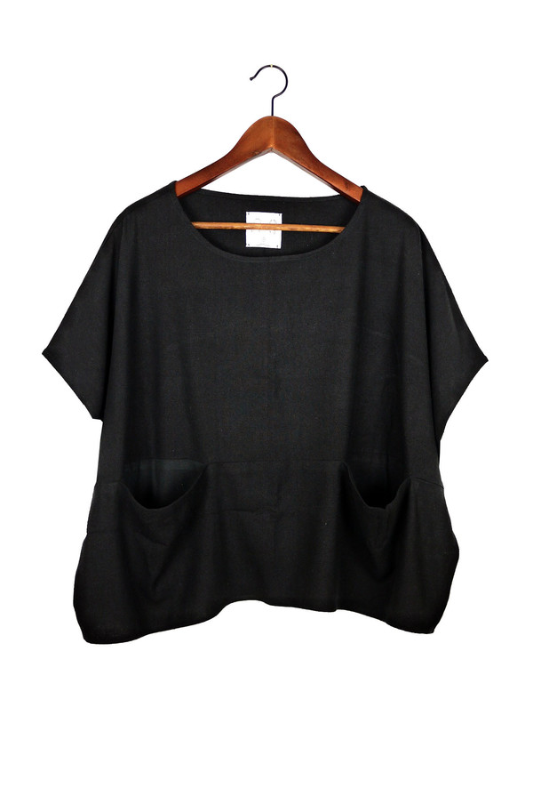 Jamie + The Jones Pocket Box Top, Black Raw Silk