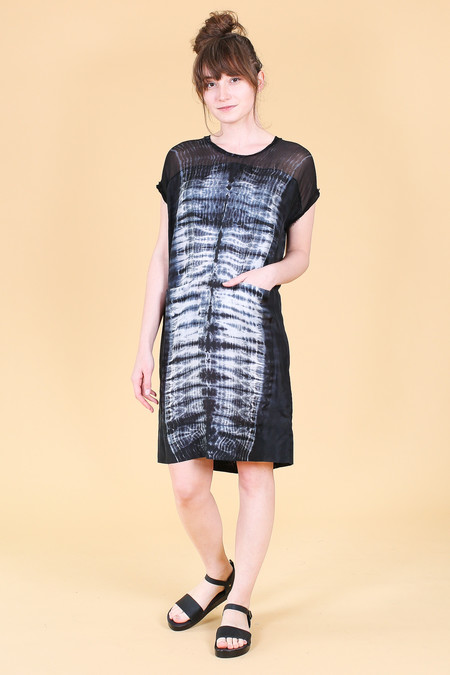 Raquel Allegra Contrast Panel Dress in Black Tie Dye