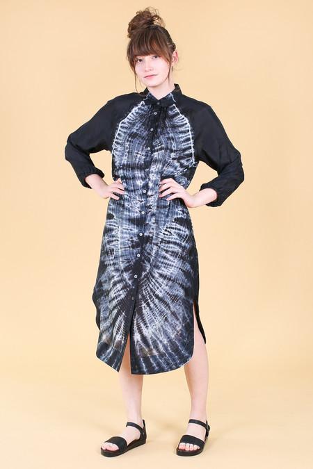 Raquel Allegra Shirt Dress in Black Tie Dye