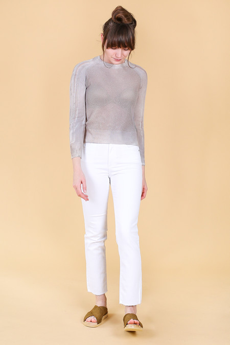 Raquel Allegra Shred Raglan Mesh Pullover in Grey Supernova