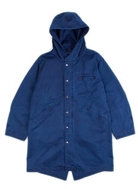 Blue Blue Japan Woven Indigo Hand Dyed Cotton Satin Fishtail Parka