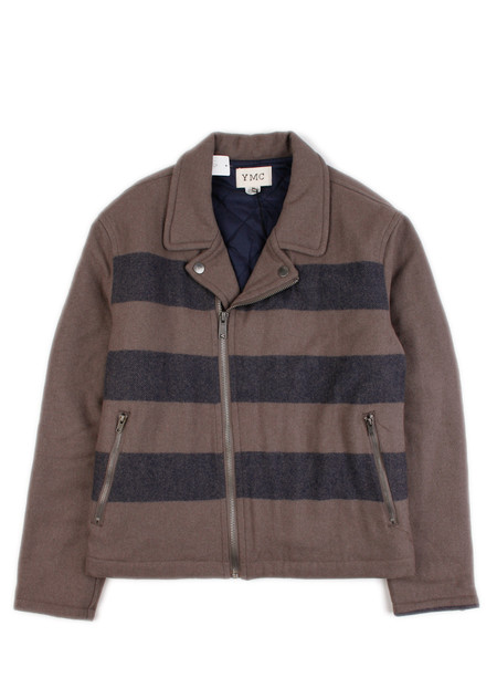 YMC - Knit Motorcycle Jacket Navy/Grey Stripe