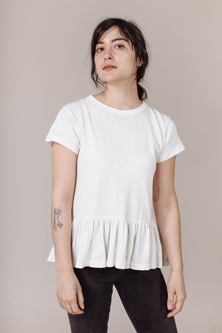 The Great  Ruffle Tee in Washed White
