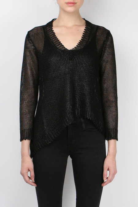 (nude) Coated Linen Sweater