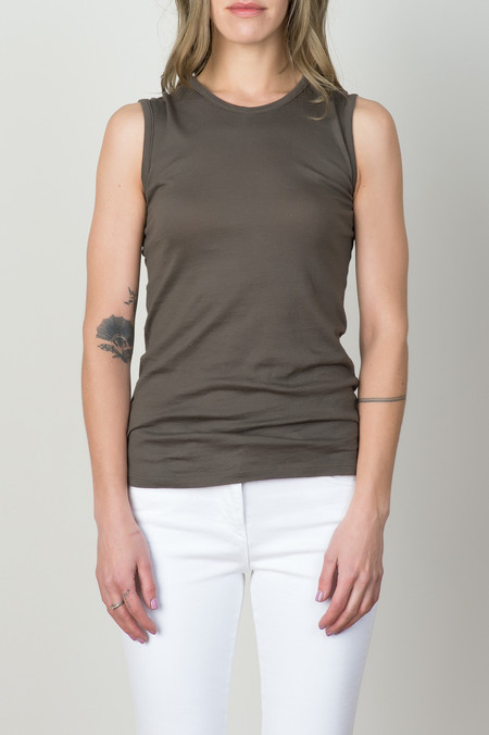V::ROOM Egyptian Jersey Tank In Dark Charcoal