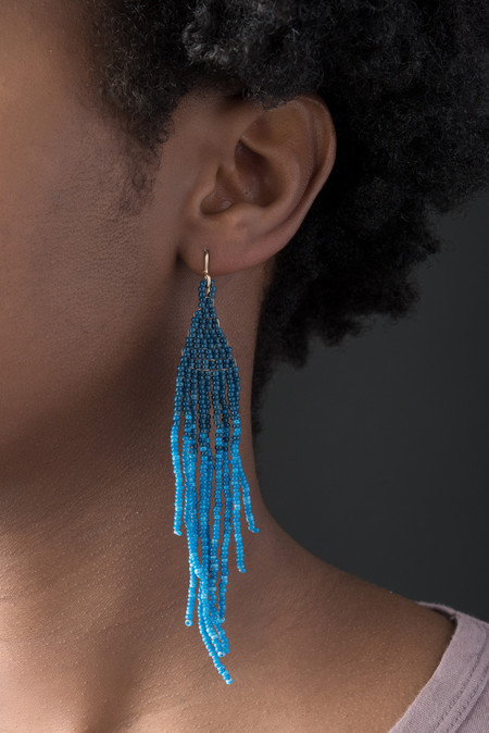 Salihah Moore Hand Beaded Earrings In Indigo Dip