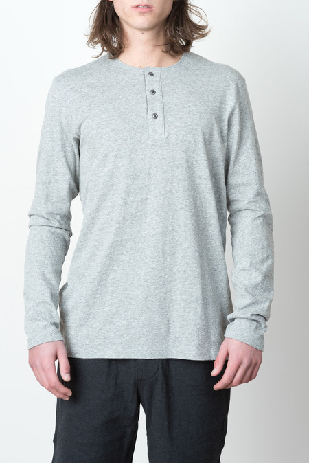 Wings + Horns L/S Knit Premium Jersey Henley In Heather Grey