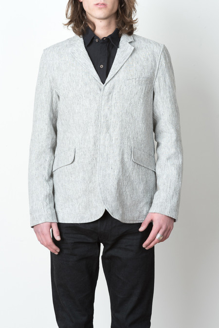 Wings + Horns Woven Washed Linen Blazer In Ash Grey