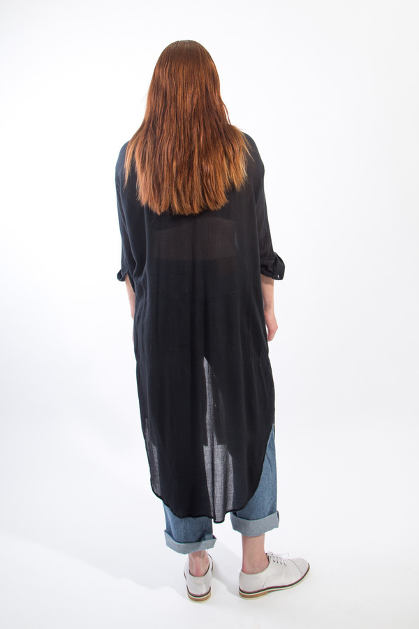 Black Crane Double Collar Dress