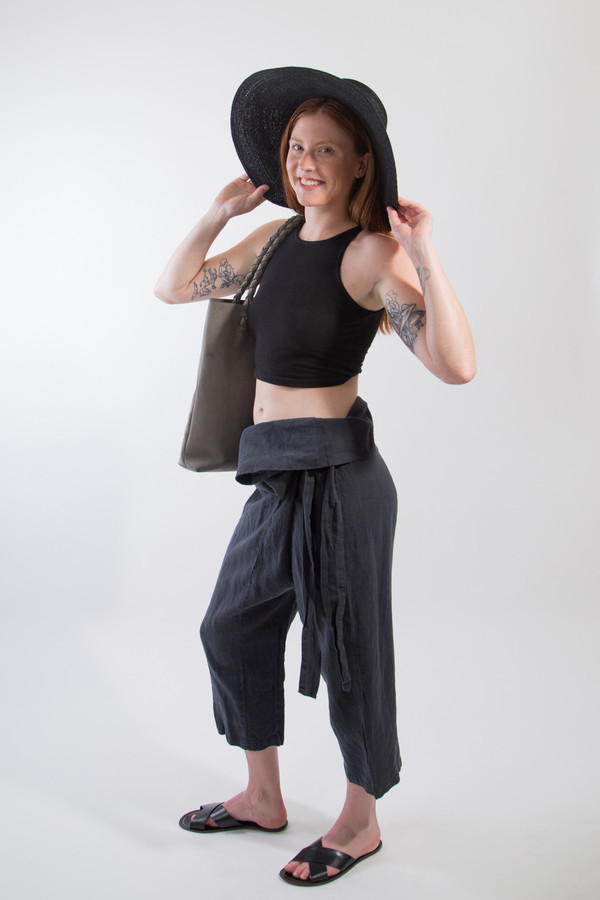 Black Crane Wrap Pants