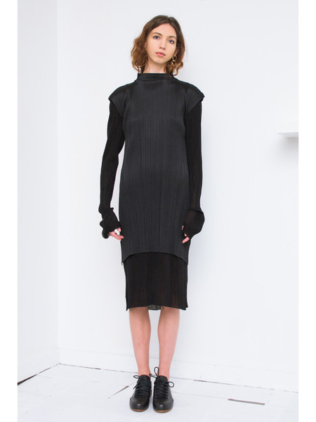 Issey Miyake Knee Length Dress with Cap Sleeve - Black