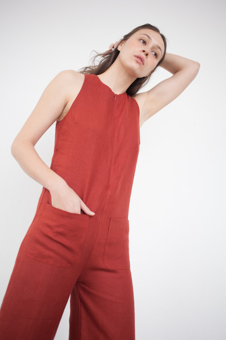 Nomia Cropped Jumpsuit in Brick
