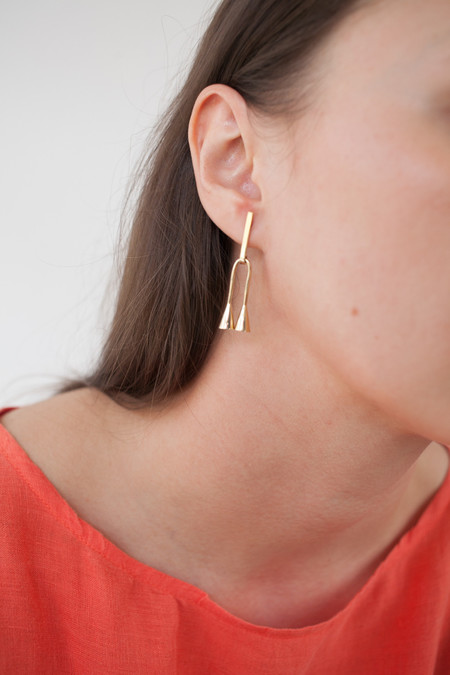 Quarry Petite Verne Earrings in Brass