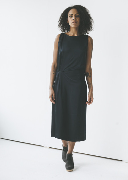 Achro - Draped Midi Dress in Navy
