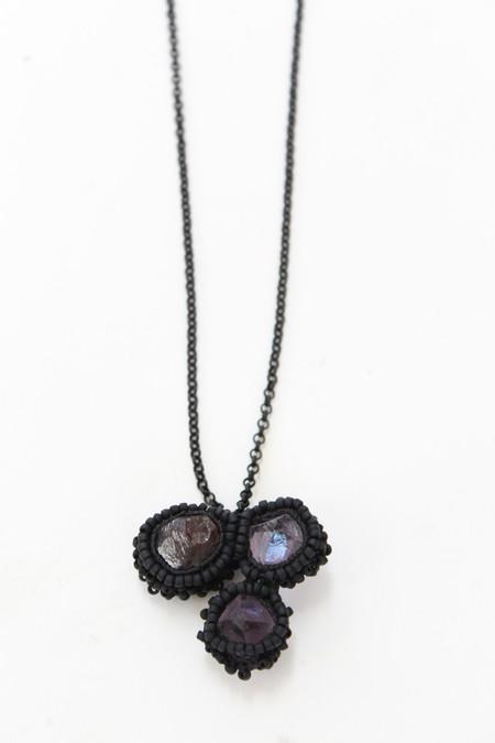 Jacki Holland Necklace Double Fluorite With Raw Garnet