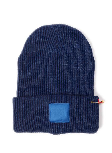 Blue Blue Japan Indigo Cotton Silk Patched Knit Cap Blue