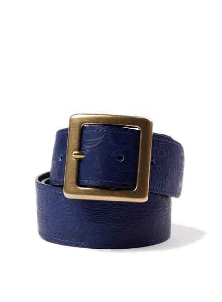 Blue Blue Japan Indigo Leather Paisley Embossed Wide Belt