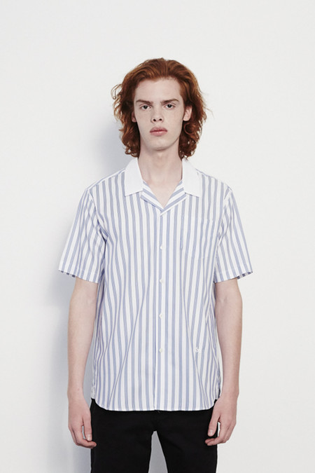 Soulland Cornwall Printed Short Sleeve Shirt with Chest Pocket in Stripe Blue