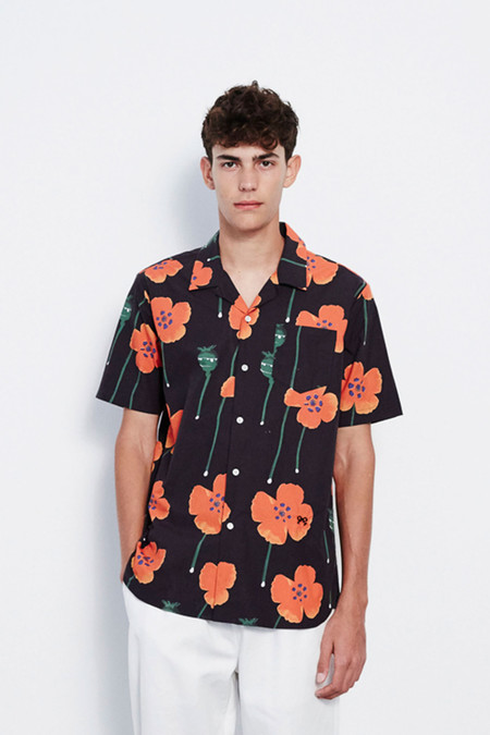 Soulland Juice All Over Printed Short Sleeve Shirt in Flower Print