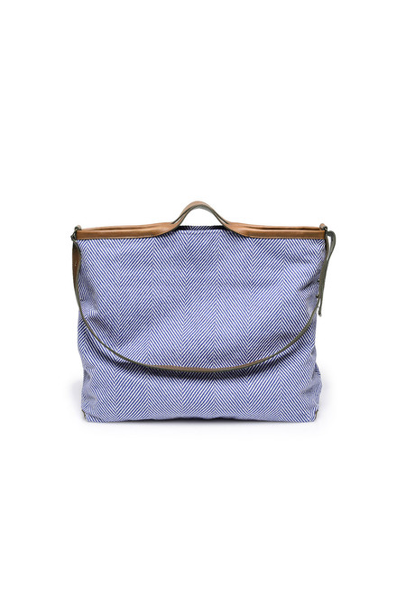 Jo Handbags XL Shopper in Blue Herringbone