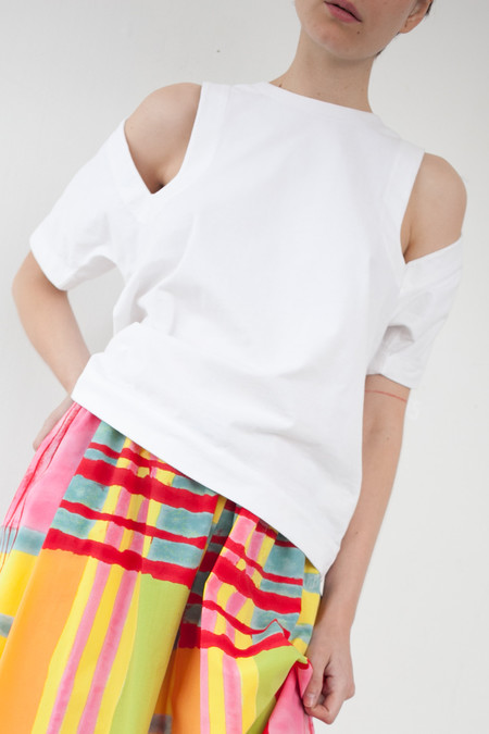 Nancy Stella Soto Cutout Tee Shirt in White