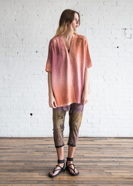 Raquel Allegra Shred Kimono Blood Orange