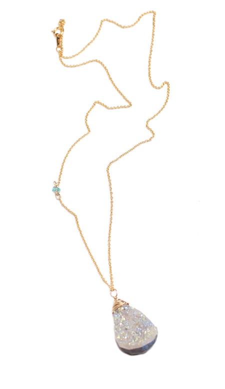 Sarah Dunn Druzy Necklace on 14k Gold Chain