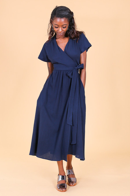 Svilu Merce Dress in Navy