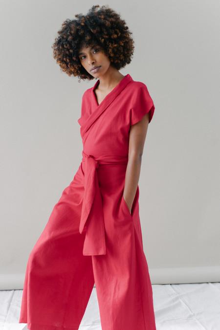 REIFhaus Ramona Wrap Jumpsuit in Cardinal Linen